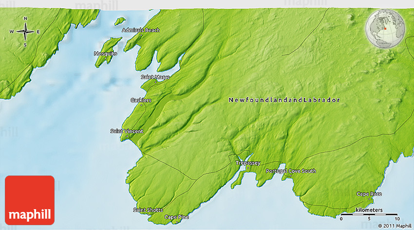 Physical 3D Map of Cape Race