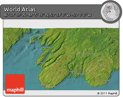 """Satellite 3D Map of the Area around 46°51'18""""N,53°28'30""""W"""