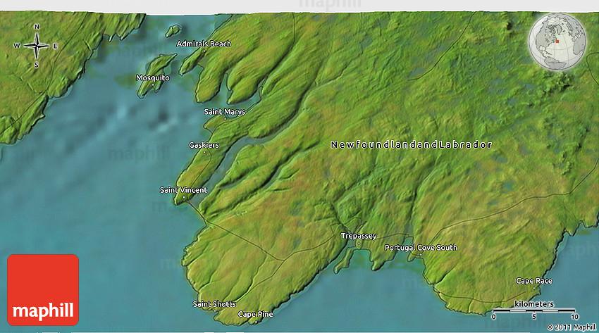 Satellite 3D Map of Cape Race