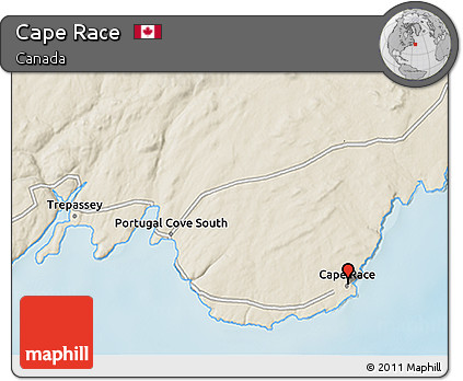 Free Shaded Relief 3D Map of Cape Race