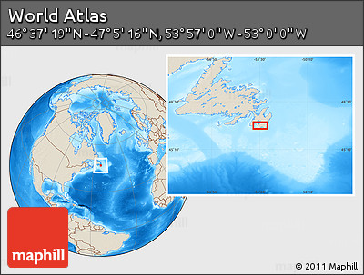 """Shaded Relief Location Map of the Area around 46°51'18""""N,53°28'30""""W"""
