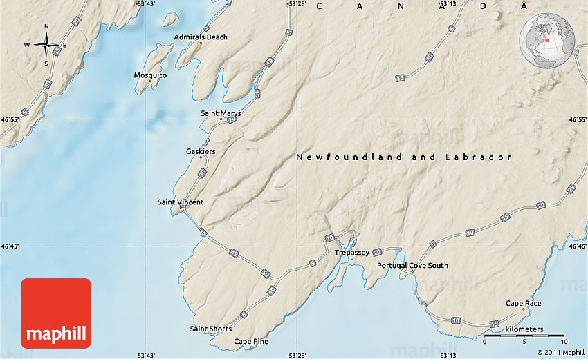 Shaded Relief Map of Cape Race