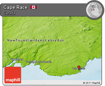 Free Physical Panoramic Map of Cape Race