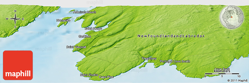 Physical Panoramic Map Of Portugal Cove South - Portugal cove nl map