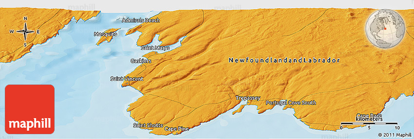 Political Panoramic Map of Cape Race
