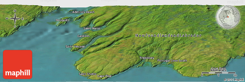 Satellite Panoramic Map Of Portugal Cove South - Portugal cove nl map