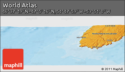 """Political Panoramic Map of the Area around 46°51'18""""N,54°19'30""""W"""