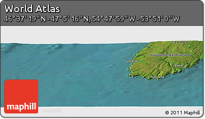 "Satellite Panoramic Map of the Area around 46°51'18""N,54°19'30""W"