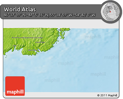 """Physical 3D Map of the Area around 46°51'18""""N,55°10'29""""W"""
