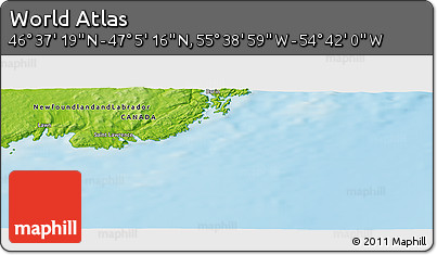 """Physical Panoramic Map of the Area around 46°51'18""""N,55°10'29""""W"""