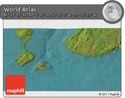 """Satellite 3D Map of the Area around 46°51'18""""N,56°1'29""""W"""