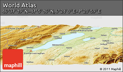 """Physical Panoramic Map of the Area around 46°51'18""""N,6°52'30""""E"""