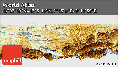 """Physical Panoramic Map of the Area around 46°51'18""""N,7°43'29""""E"""