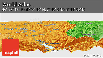 """Political Panoramic Map of the Area around 46°51'18""""N,7°43'29""""E"""