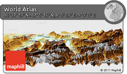 """Physical Panoramic Map of the Area around 46°51'18""""N,8°34'29""""E"""