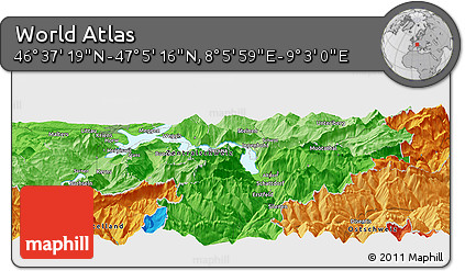 """Political Panoramic Map of the Area around 46°51'18""""N,8°34'29""""E"""