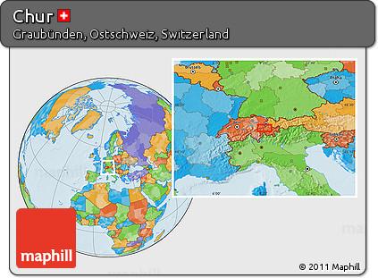 Free Political Location Map Of Chur - Chur map