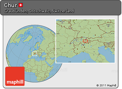 Free Savanna Style Location Map Of Chur - Chur map
