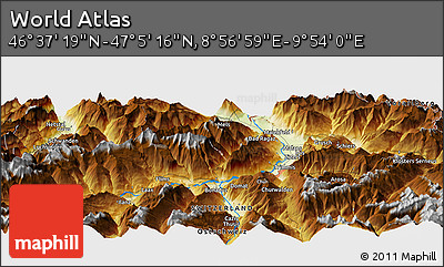 """Physical Panoramic Map of the Area around 46°51'18""""N,9°25'30""""E"""