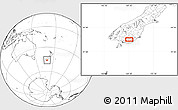 """Blank Location Map of the area around 46°9'26""""S,169°13'29""""E"""