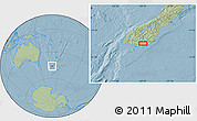 """Savanna Style Location Map of the area around 46°9'26""""S,169°13'29""""E, hill shading"""