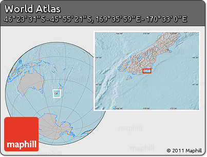 """Gray Location Map of the Area around 46°9'26""""S,170°4'29""""E, hill shading"""