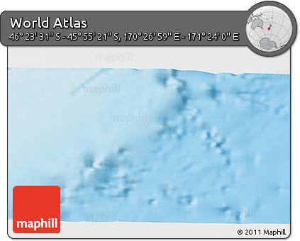 """Shaded Relief 3D Map of the Area around 46°9'26""""S,170°55'30""""E"""