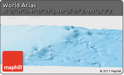 """Physical Panoramic Map of the Area around 46°9'26""""S,170°55'30""""E"""