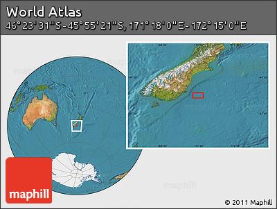 "Satellite Location Map of the Area around 46°9'26""S,171°46'30""E"