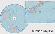 """Gray Location Map of the area around 46°9'26""""S,172°37'30""""E, hill shading"""