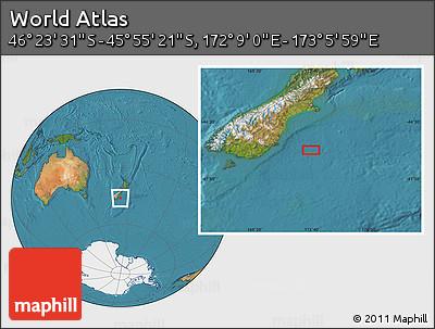 "Satellite Location Map of the Area around 46°9'26""S,172°37'30""E"