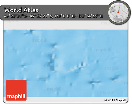 """Shaded Relief 3D Map of the Area around 46°9'26""""S,173°28'29""""E"""