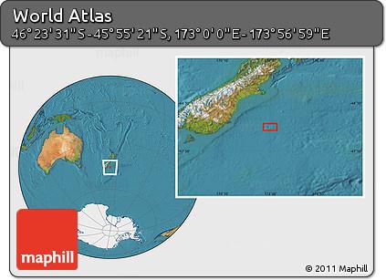 "Satellite Location Map of the Area around 46°9'26""S,173°28'29""E"