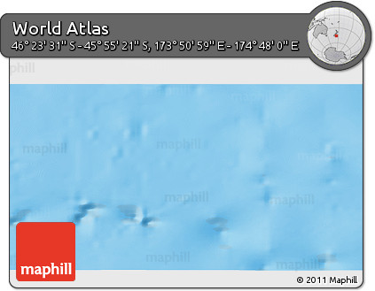 "Shaded Relief 3D Map of the Area around 46° 9' 26"" S, 174° 19' 29"" E"
