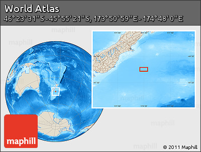 """Shaded Relief Location Map of the Area around 46°9'26""""S,174°19'29""""E"""