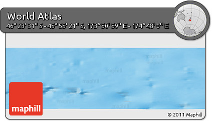 """Physical Panoramic Map of the Area around 46°9'26""""S,174°19'29""""E"""
