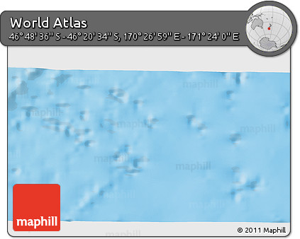 """Physical 3D Map of the Area around 46°34'35""""S,170°55'30""""E"""