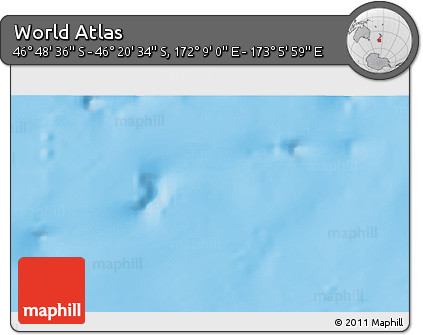 """Shaded Relief 3D Map of the Area around 46°34'35""""S,172°37'30""""E"""