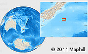 """Shaded Relief Location Map of the area around 46°34'35""""S,173°28'29""""E"""