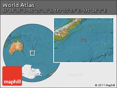 "Satellite Location Map of the Area around 46°34'35""S,174°19'29""E"