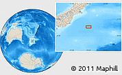 """Shaded Relief Location Map of the area around 46°34'35""""S,174°19'29""""E"""