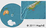 "Satellite Location Map of the area around 46°59'36""S,170°4'29""E"