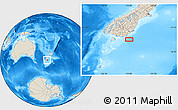 """Shaded Relief Location Map of the area around 46°59'36""""S,170°4'29""""E"""