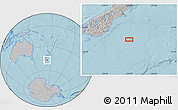 """Gray Location Map of the area around 46°59'36""""S,173°28'29""""E, hill shading"""