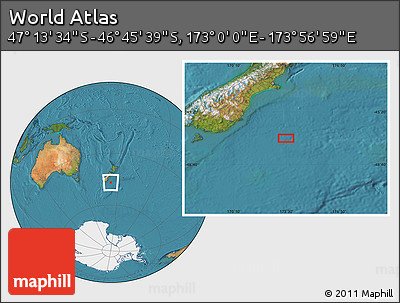 "Satellite Location Map of the Area around 46°59'36""S,173°28'29""E"