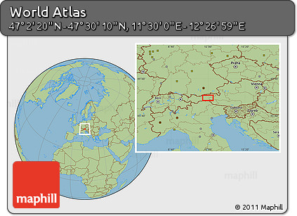 "Savanna Style Location Map of the Area around 47°16'15""N,11°58'29""E"