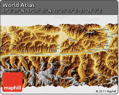 """Physical 3D Map of the Area around 47°16'15""""N,12°49'29""""E"""