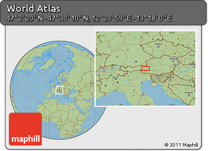 "Savanna Style Location Map of the Area around 47°16'15""N,12°49'29""E"