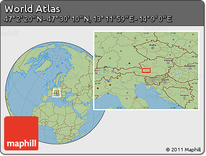 "Savanna Style Location Map of the Area around 47°16'15""N,13°40'30""E"
