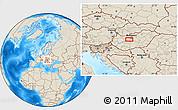 Shaded Relief Location Map of Székesfehérvár